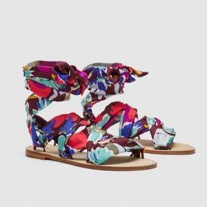 Zara Studio collection silk scarf leather sandals